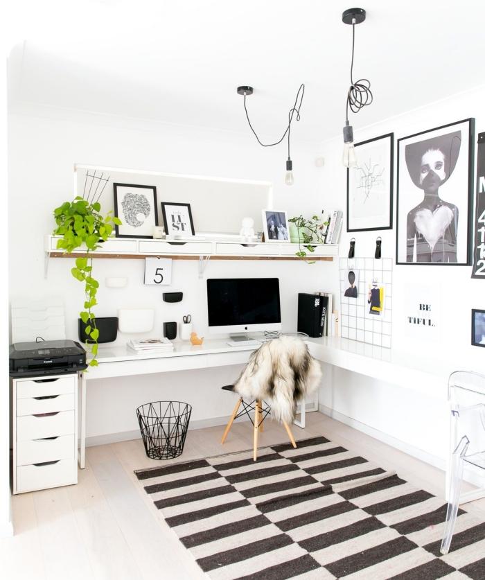 design bureau à domicile moderne en blanc et noir avec accents en vert, idées de décoration avec plante grasse retombante pour bureau