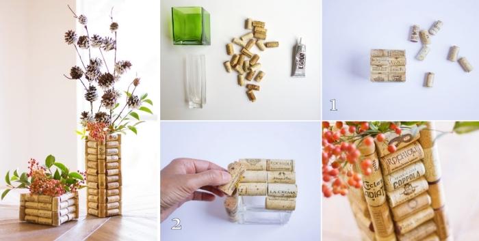 deco fait maison facile et rapide, tutoriel comment faire un vase diy oirignal, idée que faire avec des bouchons de liège