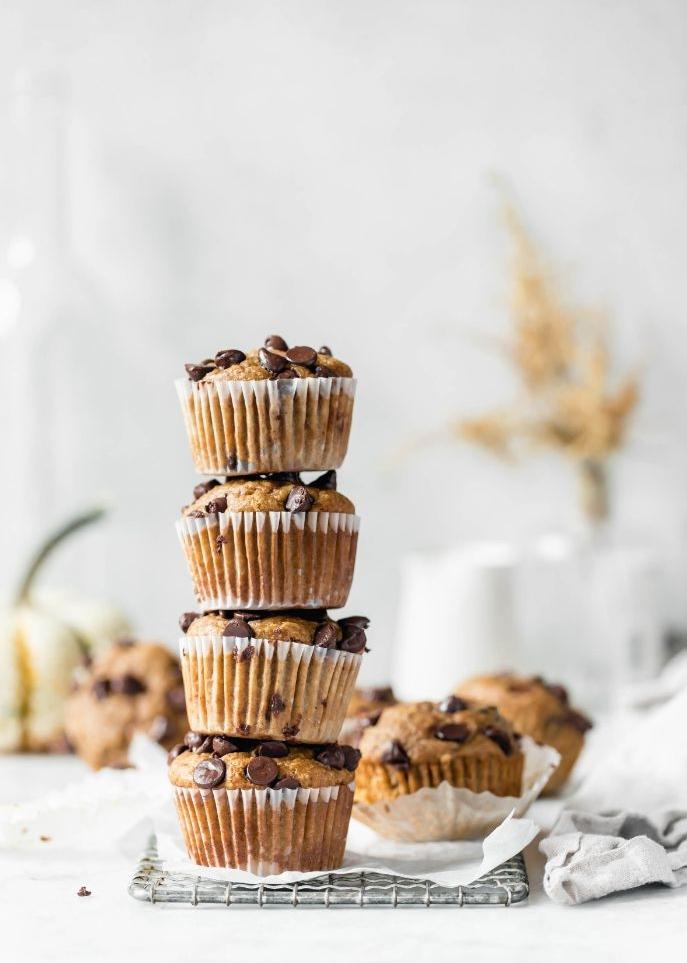 comment faire muffins banane chocolat sans sucre healthy avec farine flocons d avoine, pepites de chocolat