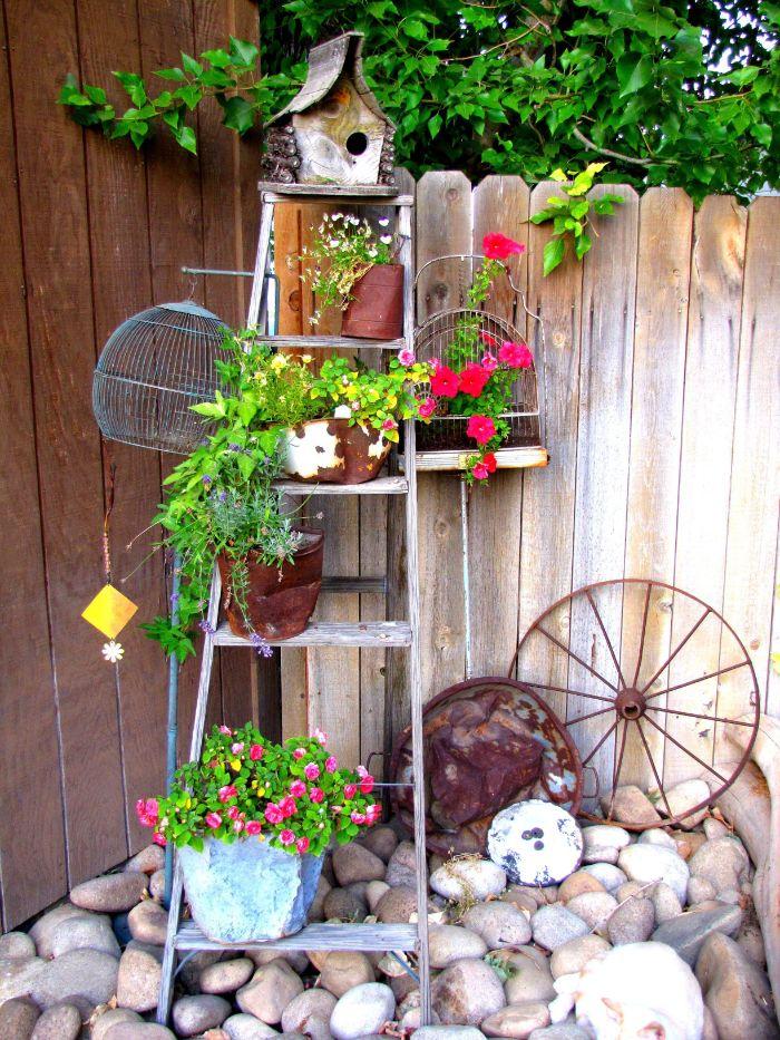 idee deco avec échelle recup comme rangement pour plantes à l extérieur, deco exterieur vintage rustique