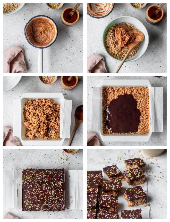 tuto pour faire un dessert rapide et léger, petit gateau leger sans cuisson à base de cacahuetes, beurre de cacahuete, riz soufflé