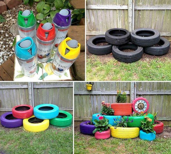 fabriquer une jardiniere dans pneu recyclé et repeint de peinture, amenagement petit jardin cour arriere