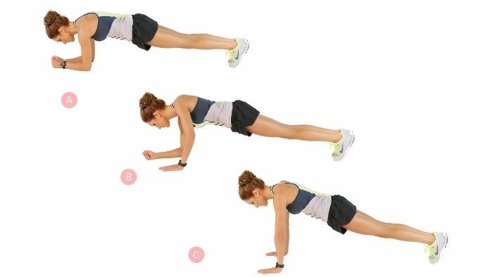 planche commando alternance coude main, idee gainage dynamique, meilleur exercice abdos a faire chez soi