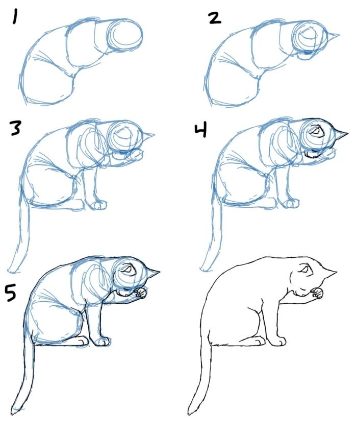 comment faire un chat qui dort au crayon en 6 étapes simples, exemple de dessin de chat facile a reproduire