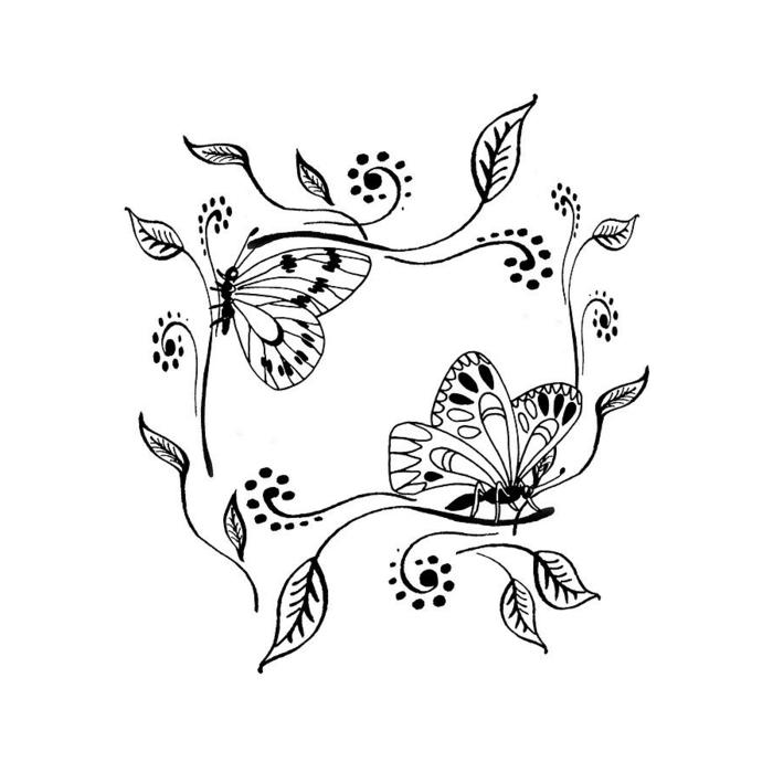 Cadre a feuilles et papillons dessin facile a reproduire par etape, chouette idee de dessin