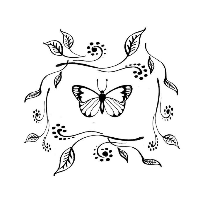 Papillon au centre dessin animal, inspiration dessin de papillon en couleur facile