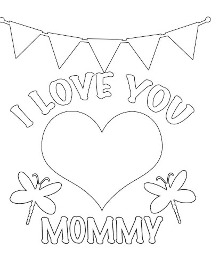 Je t'aime maman coloriage mère enfant dessin simple, dessiner et colorier une image pour la fete
