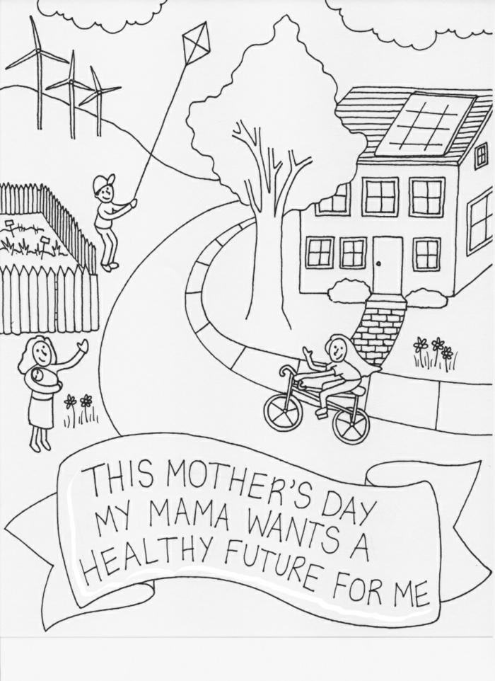 Coloriage carte de voeux fait main dessin pour la fête des mères cadeau carte avec message pour la future