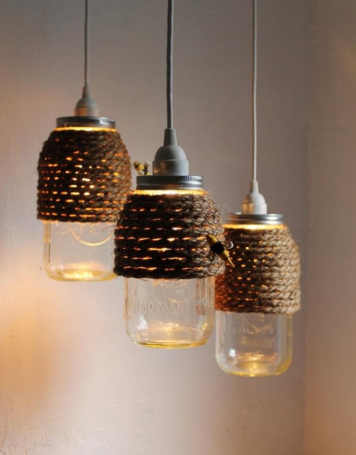 idée bricolage facile avec bocaux en verre, idée que faire avec jar, diy lampe suspendue facile avec bocal et corde végétale