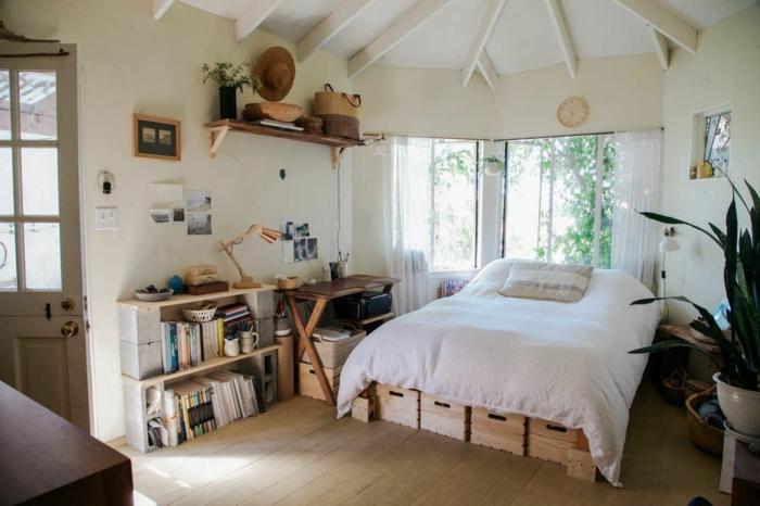Belle chambre à coucher ronde déco de petit appartement, amenagement studio 20m2 coin activité