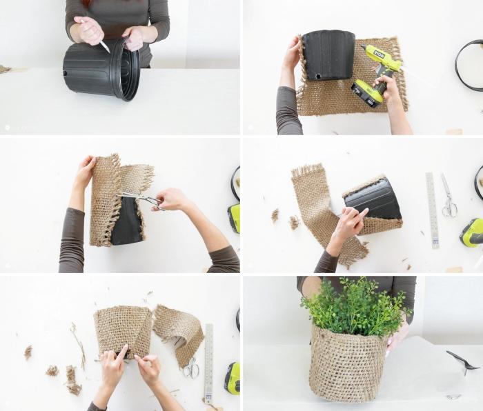 deco a faire soi meme à petit budget, comment faire un cache-pot avec morceaux de toile de jute et vieux pot fleurs en plastique