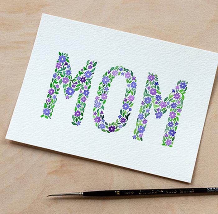 Mere ecriteau fleurie dessin pour la fête des mères, image fete des meres simple a copier