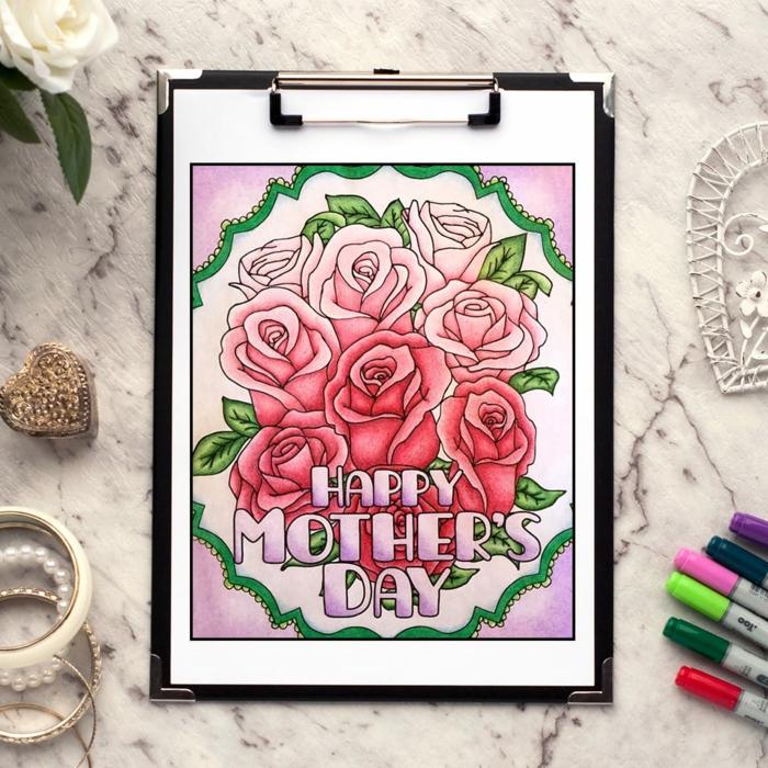 Roses rouges et roses image fete des meres, coloriage bonne fete maman simple et facile