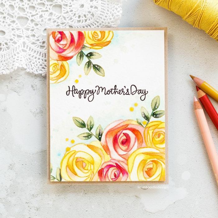 Beau carte dessiné avec fleurs activité manuelle pour enfants, dessin pour la fête des mères