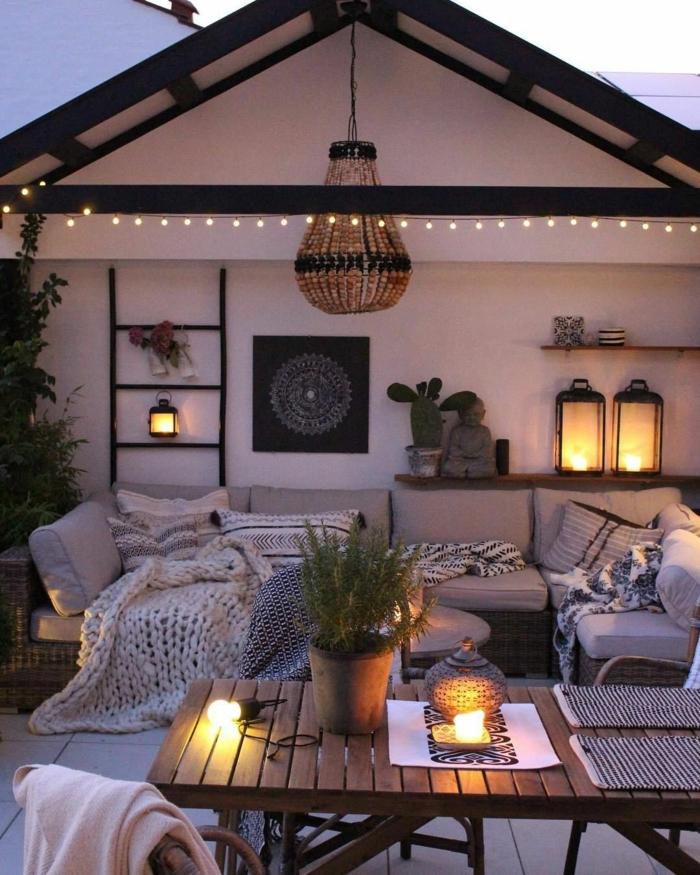 Terrasse de jardin avec meubles jolis fond d'écran hiver, fond d'écran cocooning photo cosy vibrations
