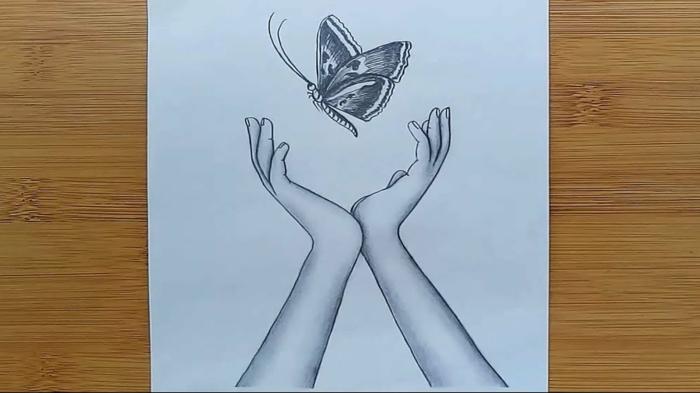 Mains et papillon volant comment faire un papillon dessin couleur, dessin facile a faire