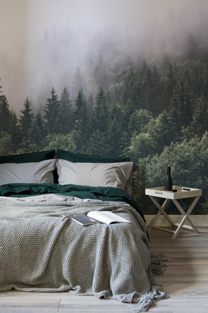 Chambre à coucher avec papier peint montagne beau fond d'écran cocooning, photo déco cosy appartement