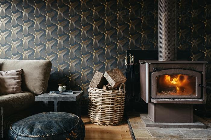 Papier peint fond ecran hiver, belle maison confort de chez soi photo swag cheminée allumée