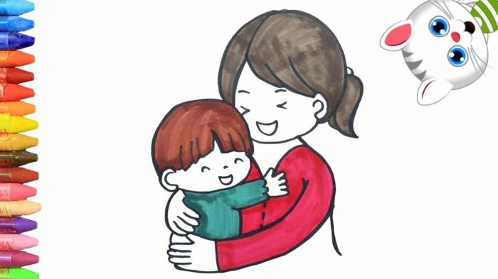 Dessin pour maman, simple coloriage fête des mères pour les plus petits mere et enfant
