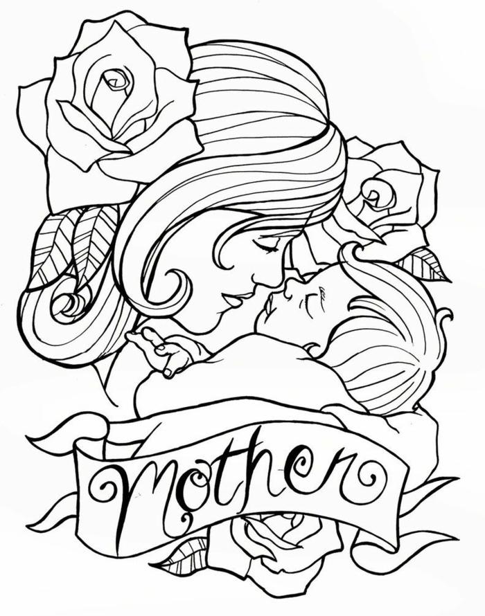 Images fête des mères, idée dessin pour tatouage, dessin reproduction et coloriage bonne fete maman