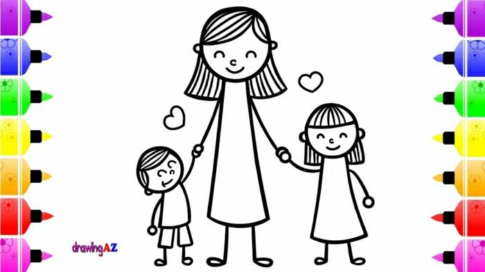 Mère et ses deux enfants coloriage fête des mères, carte de voeux cadeau fête des mères à fabriquer