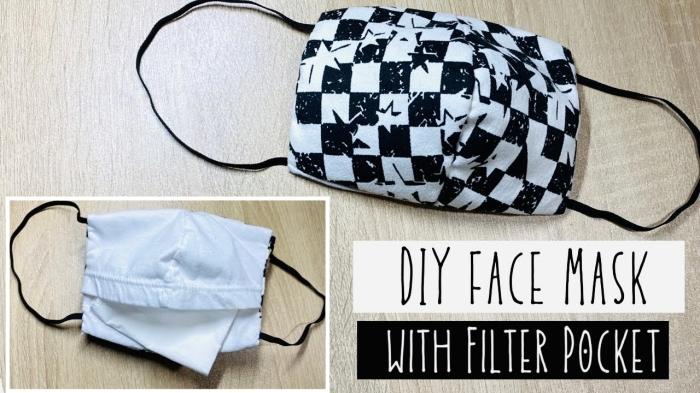 idée facile comment faire un masque avec tissu et poche pour filtre, modèle de masque de protection DIY en tissu blanc et noir