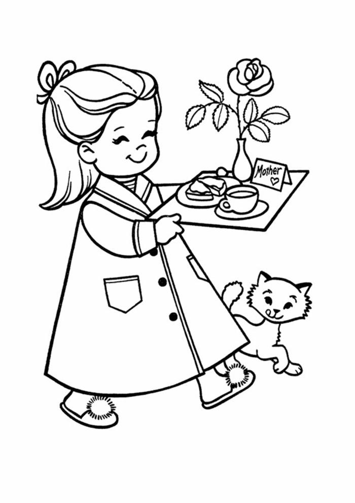 Fille qui porte petit dejeuner pour sa maman au lit dessin fête des mères, cadeau fête des mères à fabriquer simple dessin