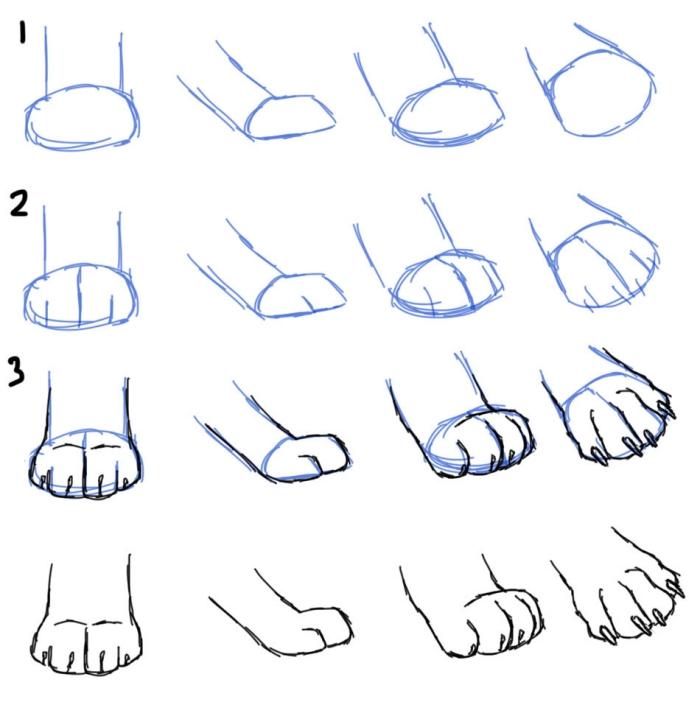 pas à pas dessins de pattes de chat, modèles de pattes à dessiner en quelques étapes faciles, idée pattes de chat facile a dessiner