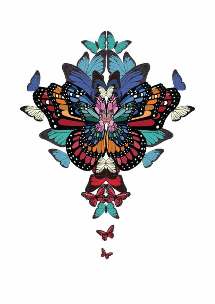 Papillons colorés collage magnifique dessin noir et blanc les plus beaux papillons du monde