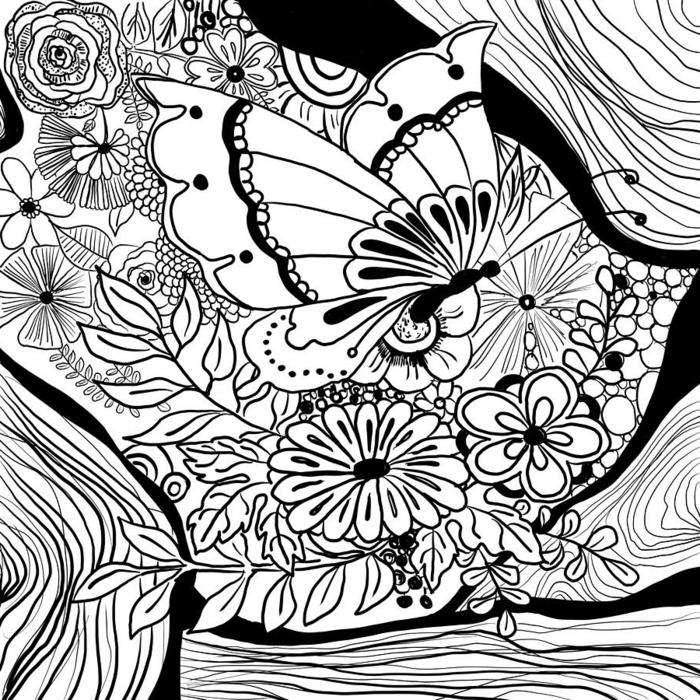 Coloriage dessin chouette, papier et crayons pour un dessin noir et blanc pour colorier