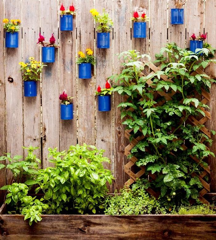 recyclage boite de conserve pour faire jardiniere, mur végétal simple fleuri, idée comment habiller un mur extérieur