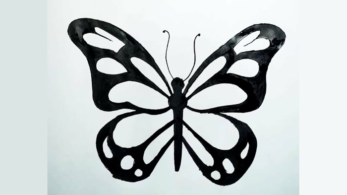 Encre noir image dessin facile a faire, chouette dessin papillon facile