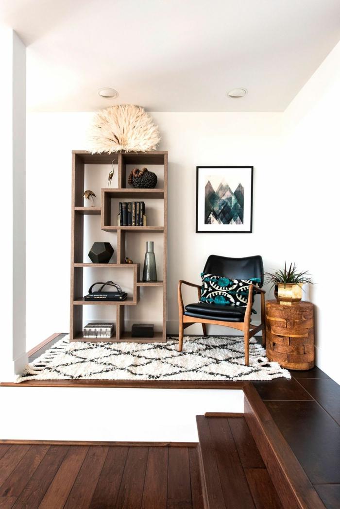 Meuble rangement bois, fauteuil noir cool aménagement studio 25m2 ikea, decoration interieur appartement