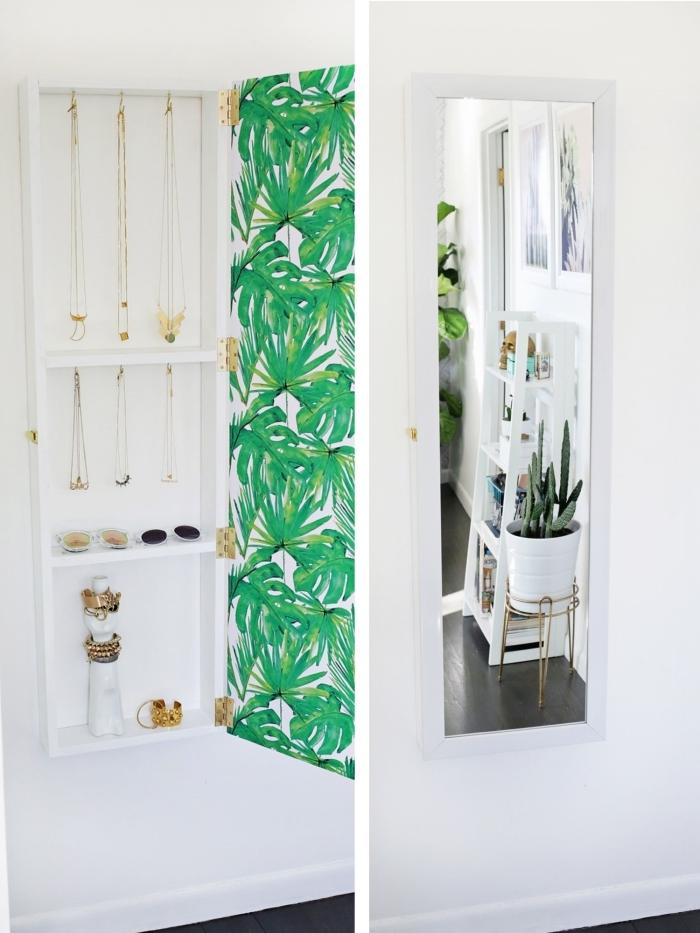 comment ranger sa chambre avec un meuble DIY, modèle organisateur pour bijoux fait maison avec bois et miroir