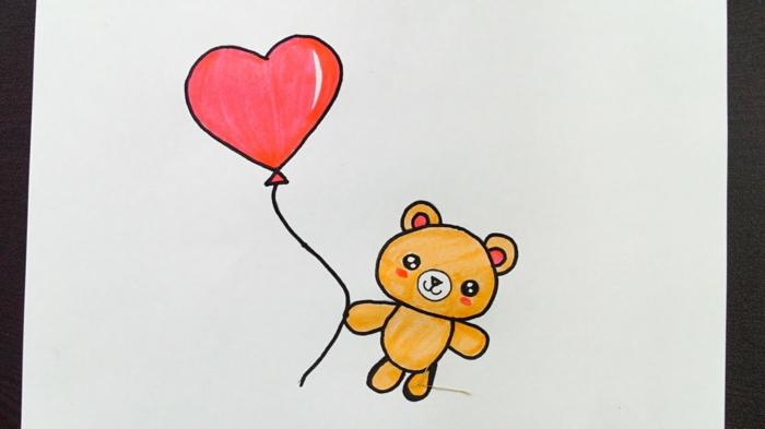 Ourson avec ballon coeur coloriage fete des meres, dessin pour carte fête des mères maternelle