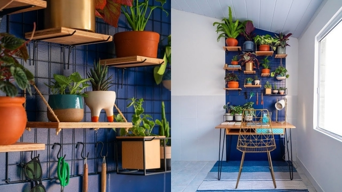 exemple comment bien aménager un petit coin de travail, décoration murale avec petites étagères en bois et plante suspendue