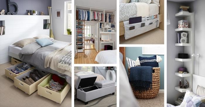 modèles de rangement chambre faciles avec matériaux de récupération, diy rangement en tissu avec poche accroché au cadre de lit