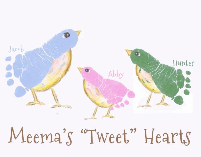cadeau fait main pour maman avec peintures, peinture mignonne avec oiseaux et leur mère en empreintes pied enfants