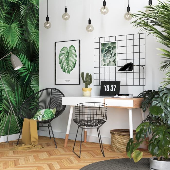 exemple comment décorer un coin de travail dans son salon de style exotique avec meubles en bois et plante tropicale
