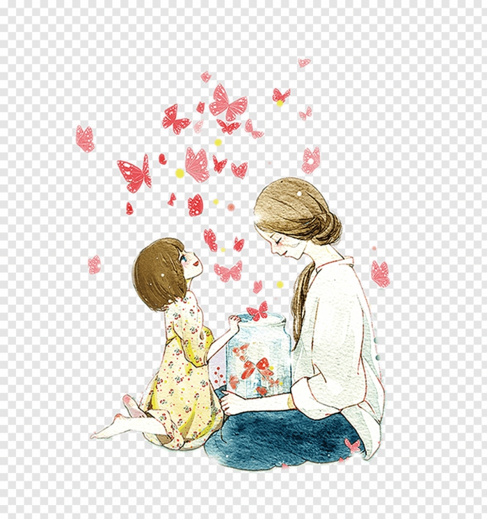 Mere enfant dessin bocal plein de papillons cadeau fête des mères à fabriquer, activité fête des mères cool