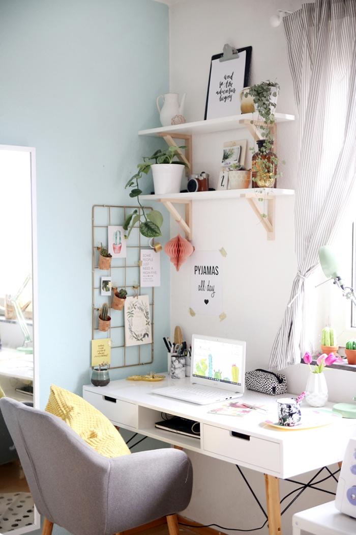quelle peinture murale pour un coin de bureau apaisant, idée déco bureau à domicile avec petites plantes d'appartement