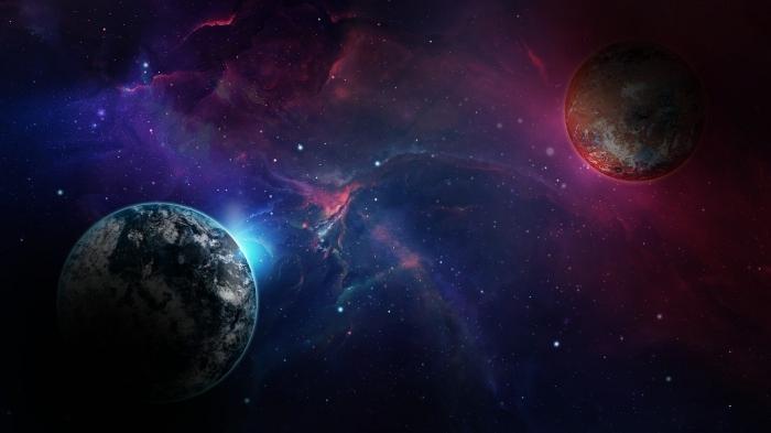 fond d écran original pour personnaliser son écran PC, image cosmos avec planètes et étoiles, photographie de l'espace