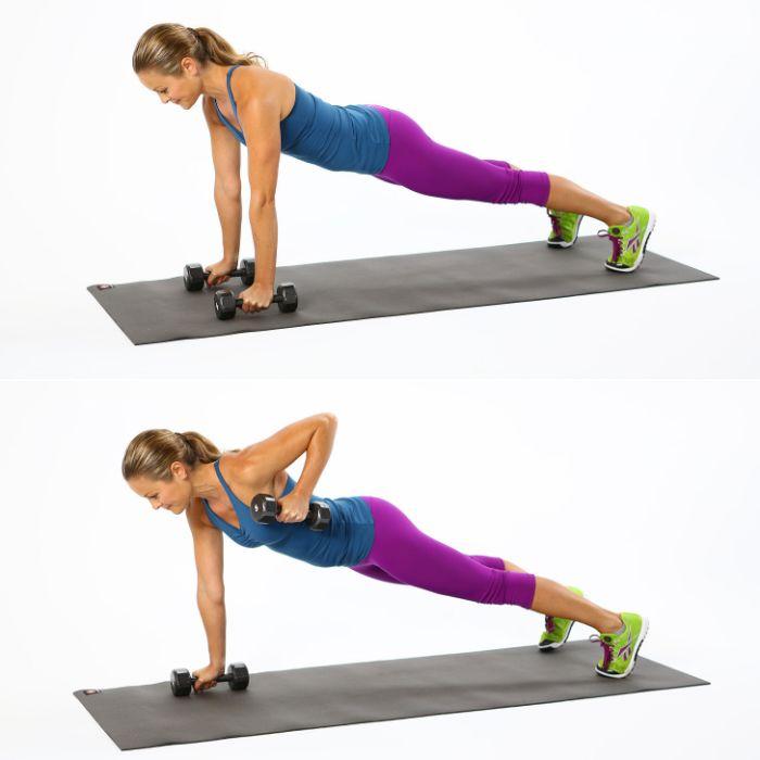 exercice de gainage et triceps, gainage ventre plat femme avancé avec du poids pour entrainer les mains