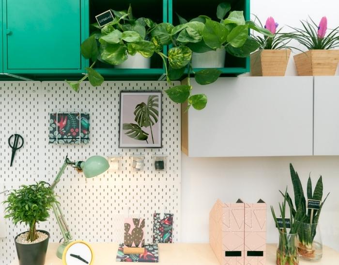 plantes vertes d'intérieur photos, décoration espace de travail de style jungalow avec plantes vertes et meubles bois