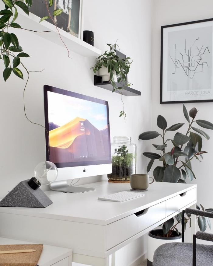 exemple comment bien décorer son home office moderne avec meubles en blanc et plantes d'appartement vertes