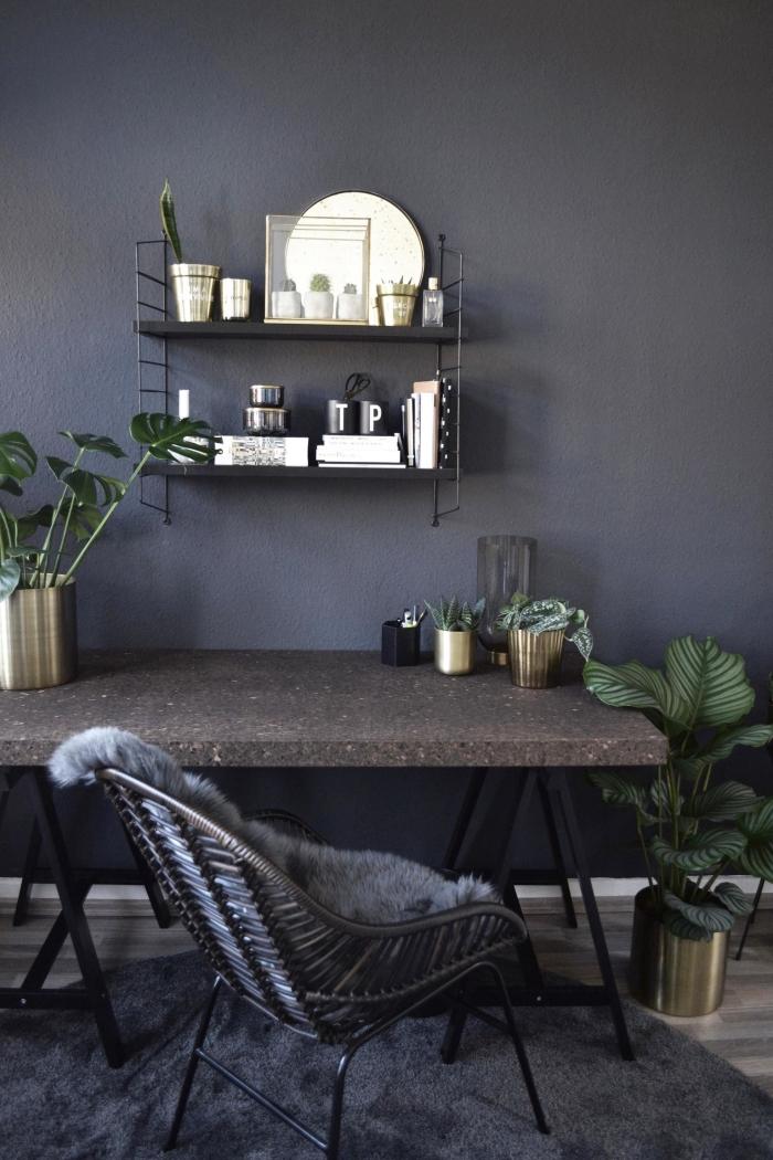 quelle peinture pour un coin de travail à domicile moderne, décoration bureau avec vase métal et feuilles de monstera deliciosa