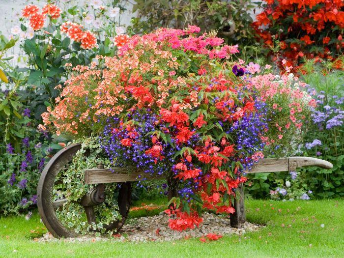 recyclage broutette de bois vintage fleurie, comment aménager son jardin facilement avec des fleurs