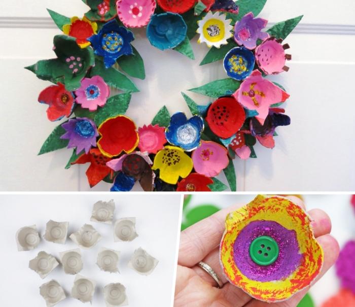 activités manuelles faciles pour printemps, exemple comment réaliser une couronne florale avec boîte d'œufs recyclée