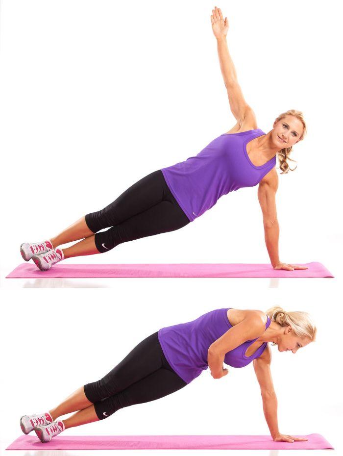 comment perdre les hanches, affiner sa taille femme avec exercice de gainage coté avec torsion