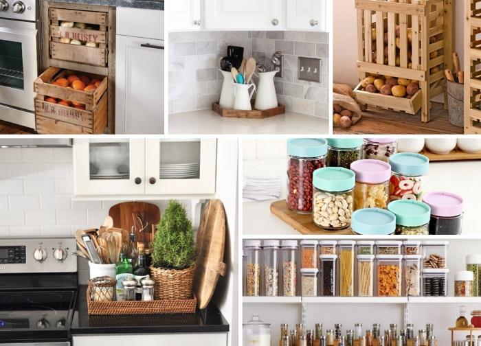 astuce rangement espace culinaire avec matériaux de récupération, exemple comment organiser les produits dans la cuisine